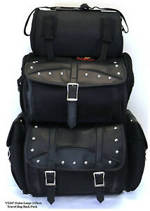 MOTORCYCLE-SISSY-T-BAR-BAGS-STUDDED-LIKE-SADDLEMEN-SIDE-ACCESS-TRAVEL-LUGGAGE