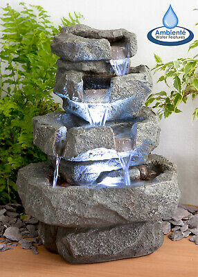 Tabletop Rock Effect Cascade Water Feature Fountain Tiered LED Lights 36cm