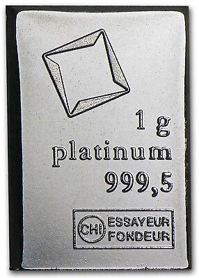 1 gram Platinum Bar - Valcambi Combibar Suisse .9999 Pure Bullion
