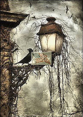 REPRINT PICTURE of print HALLOWEEN CROWS sitting on lamp stormy sky 5x7 (Halloween Sky)