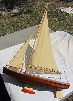 """Vintage Pond Yacht Model Sailboat 17"""" Hull And 26"""" Tall Wooden ~Hanging Display!"""