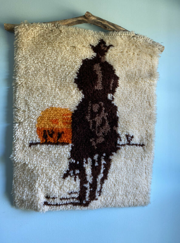 COMPLETED LATCH HOOK  RUG Large Western cowboys  Vintage Hung On Wood Stick