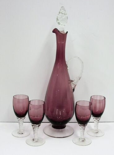 Vintage Stunning Amethyst Glass Wine Cordial Decanter and Cordial Set