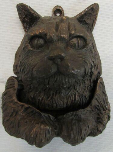 ANTIQUE OR VINTAGE SOLID BRONZE CAT DOOR KNOCKER