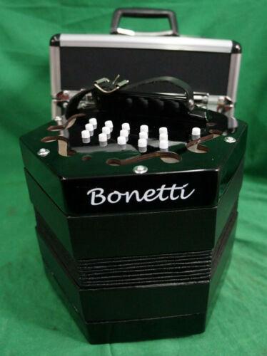 Bonetti 30 Button Black Concertina Accordion Has Broken Buttons W/Case