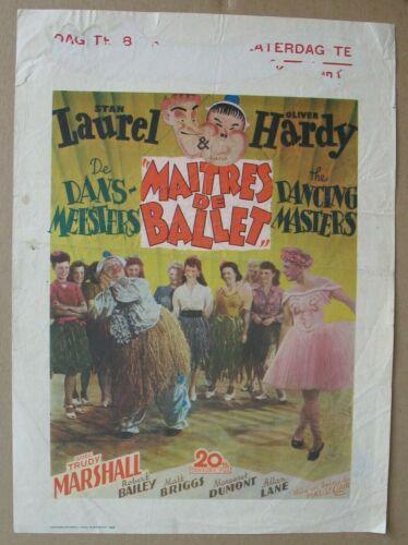 DANCING MASTERS (1943), Original 1st Release Belgian Poster, Laurel & Hardy RARE