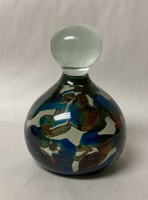 Mdina Art Glass Malta Signed Knob Style Paperweight Colors Textures Cyprus Ocean
