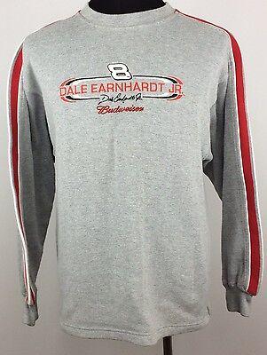 Dale Earnhardt Jr Budweiser Men's Size M Gray Red Fleece Lined Long Sleeve Shirt Dale Earnhardt Jr Fleece