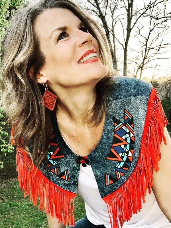 PIONEER WEAR Albuquerque USA Women's Denim Suede Leather Fringe Collar One Size