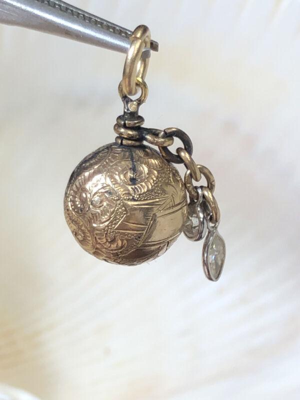 Lovely Antique Victorian Engraved Gold Ball Diamond Ball Pendant Charm