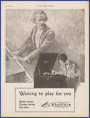 Vintage 1925 VICTROLA Phonograph Victor Records His Master's Voice 20's Print Ad