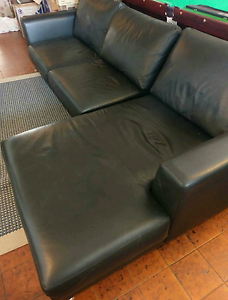 Black leather lounge Taren Point Sutherland Area Preview