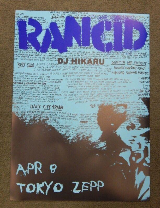 Rancid Original 13x18 Concert Poster DJ Hikaru & April 8 Tokyo Zepp Punk Rock
