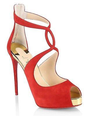 NIB Christian Louboutin Rosie 120 Red Gold Criss Cross Strap Sandal Heel Pump 42