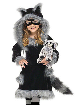 Sweet Raccoon Fluffy Animal Fancy Dress Girls Halloween Child Costume S (3T-4T)