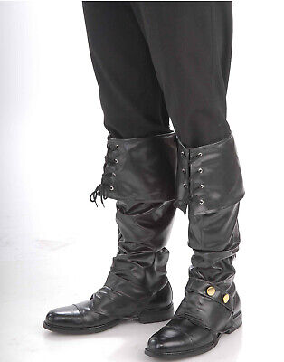 Deluxe Pirate Renaissance Adult Mens Halloween Costume Black Boot Top Covers - Halloween Booty