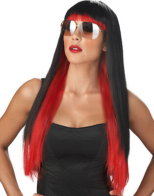 Lady Gaga Langer Roter / Schwarz Diva Sexy Punk Damen Halloween - Lady Gaga Halloween Kostüm