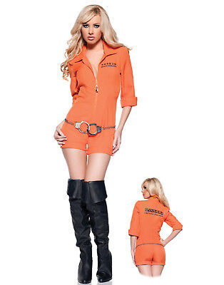 Busted Sexy Prisoner Orange Romper Womens Fancy Halloween Party Costume - Orange Halloween Costumes