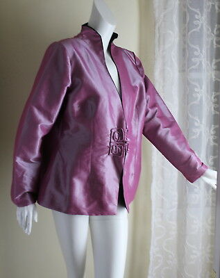 Dragon Silk -Sz XL L Lavender Pink Asian Shanghai Imperial Artsy Jacket Coat Dragon Silk Coat