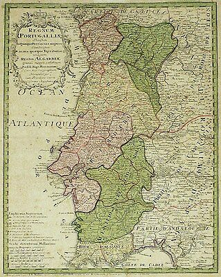 PORTUGAL Regnum Portugalliae - Homann - kolorierte Kupferstich-Karte 1736