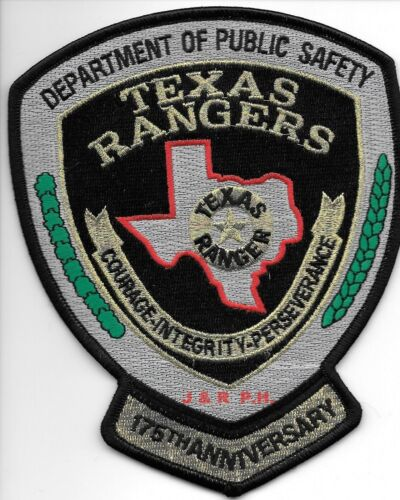 "D.P.S. Texas Rangers  175th Anniv. (4.75"" x 6"")  shoulder police patch (fire)"