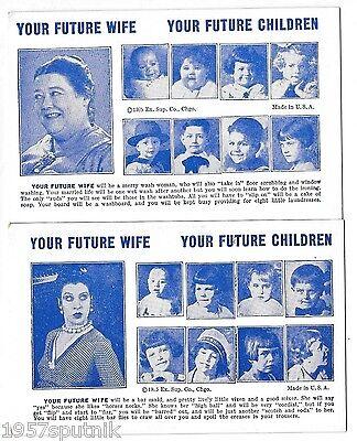 2 Your Future Wife, Children 1935 Esco Humor Exhibit Supply Co gag Arcade Card L
