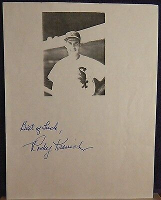 AUTOGRAPHED B&W  PHOTO   MLB BASEBALL PLAYER ROCKY KRSNICH CHICAGO WHITE SOX