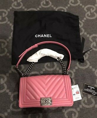 91212585d5bf BRAND NEW WITH TAGS 100% AUTHENTIC CHANEL BOY BAG MEDIUM DARK PINK FLAP BAG