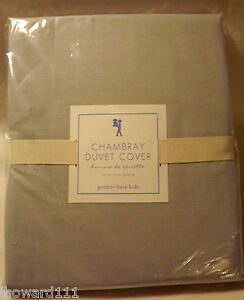 NWT-Pottery-Barn-Kids-Gray-Chambray-Duvet-Cover-TWIN