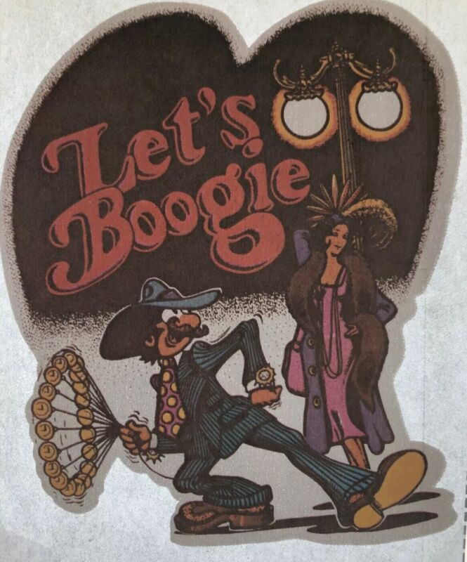 "Vtg Iron On Transfer Roach 1974 LET'S BOOGIE Retro 70s Graphic 5.5 x 4.5"" Disco"