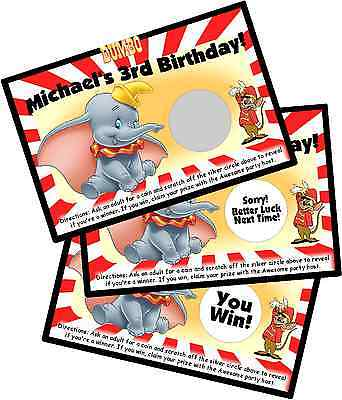 DUMBO PERSONLIZED SCRATCH OFF OFFS PARTY GAME GAMES CARDS BIRTHDAY FAVORS