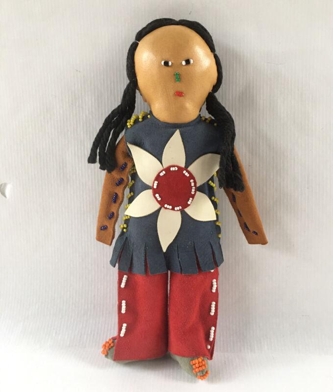"Vintage Tuscarora Native American Doll Indian Leather Beaded 9.5"" Tall Yarn Hair"