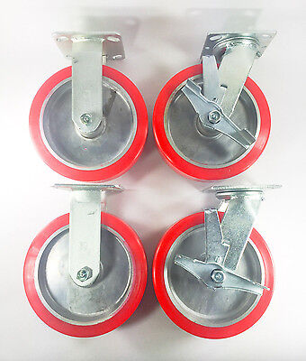 8 X 2 Polyurethane On Aluminum Caster - Rigid 2ea Swivel With Brake 2ea