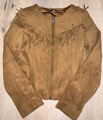 Ella Moss kids girls faux suede leather jacket size 10-12 (brown)  Girls Faux Suede Jacket