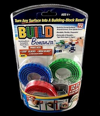 BUILD BONANZA Block Peel & Stick Tape Works with LEGO® and Mega® blocks