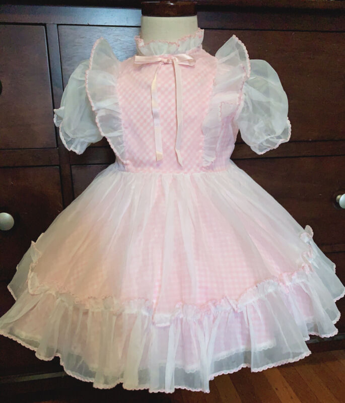Vintage girls Pink and white grid white sheer dress