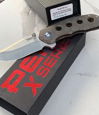 PENA X Series RHINO Titanium Folding Blade Pocket Knife SKULL Titanium Handle Ti