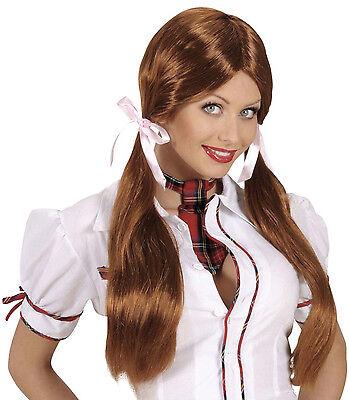 Perücke Schulmädchen Lolita lange Zöpfe Damen Kostüm Schoolgirl Dirndl JGA (Kostüm Zöpfe)