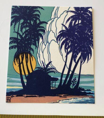 Vintage Hawaiian Home w Palms Mini Print / Book Plates by Don Blanding Hawaii