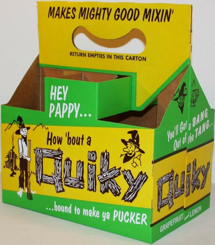 Vintage soda pop bottle carton QUIKY hillbilly picture unused new old stock Rare