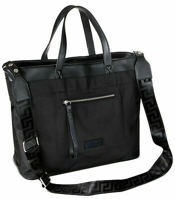 VERSACE Men's Women's Black WEEKENDER Duffle TRAVEL Bag Work TOTE Greca NEW
