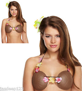 Coconut Bra Hawaiian Luau Fancy Dress Summer Party Beach Womens Tropical Flower