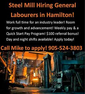 $16/HR HEAVY LIFTING DAY SHIFTS IN A HAMILTON STEEL MILL!