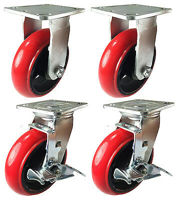 5 Heavy Duty Cast Iron Hub Non Skid Mark Round Wheel 2 Rigid 2 Swivel Brake