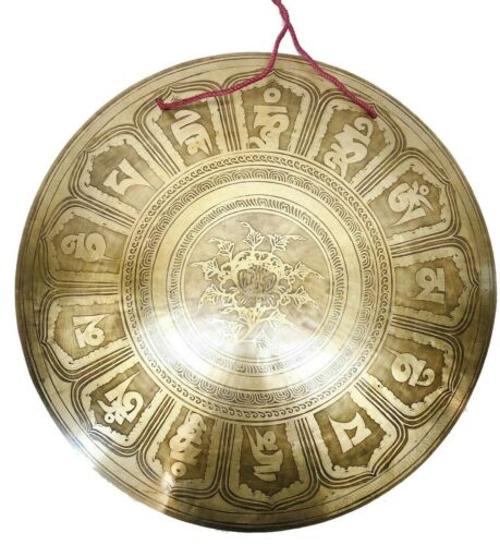 21 inches Diameter Mantra carved gong-temple gong-Handmade gong from Nepal-yoga