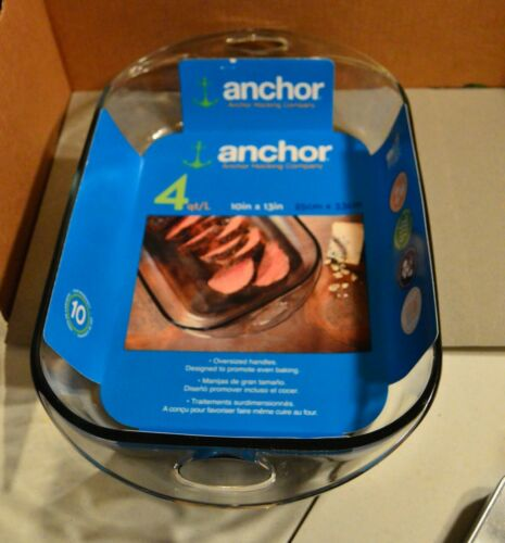 "NEW Anchor Hocking 4 Qt. Clear Glass Casserole / Baking Dish ~10"" x 13"""