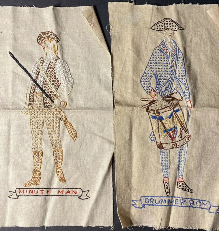 Vtg Finished Cross Stitch Set 2 Colonial Historic Drummer & Minute Man Completed