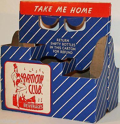 Vintage soda pop bottle carton HARMONY CLUB majorette pictured new old stock
