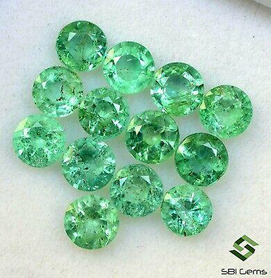 3.47 Cts Natural Emerald Round Cut 4 mm Lot 13 Pcs Calibrated Loose Gemstones