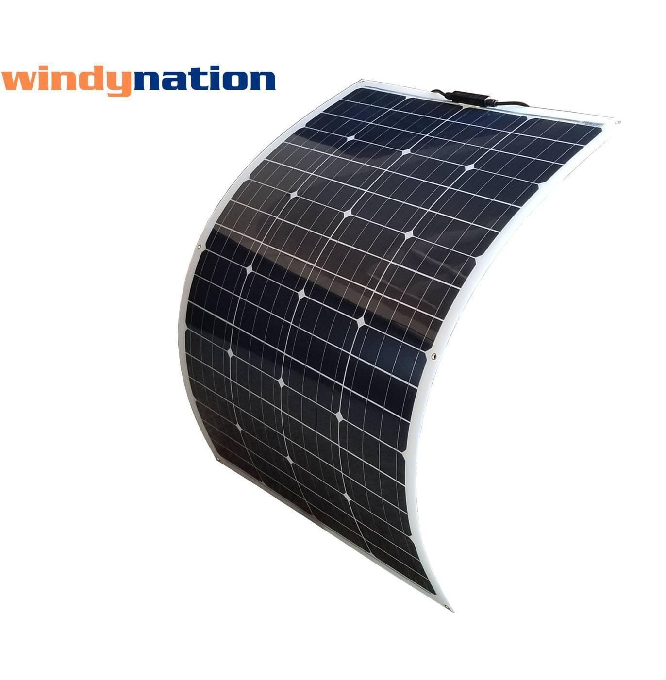 WindyNation 100 Watt 12V Flexible Solar Panel with Monocryst
